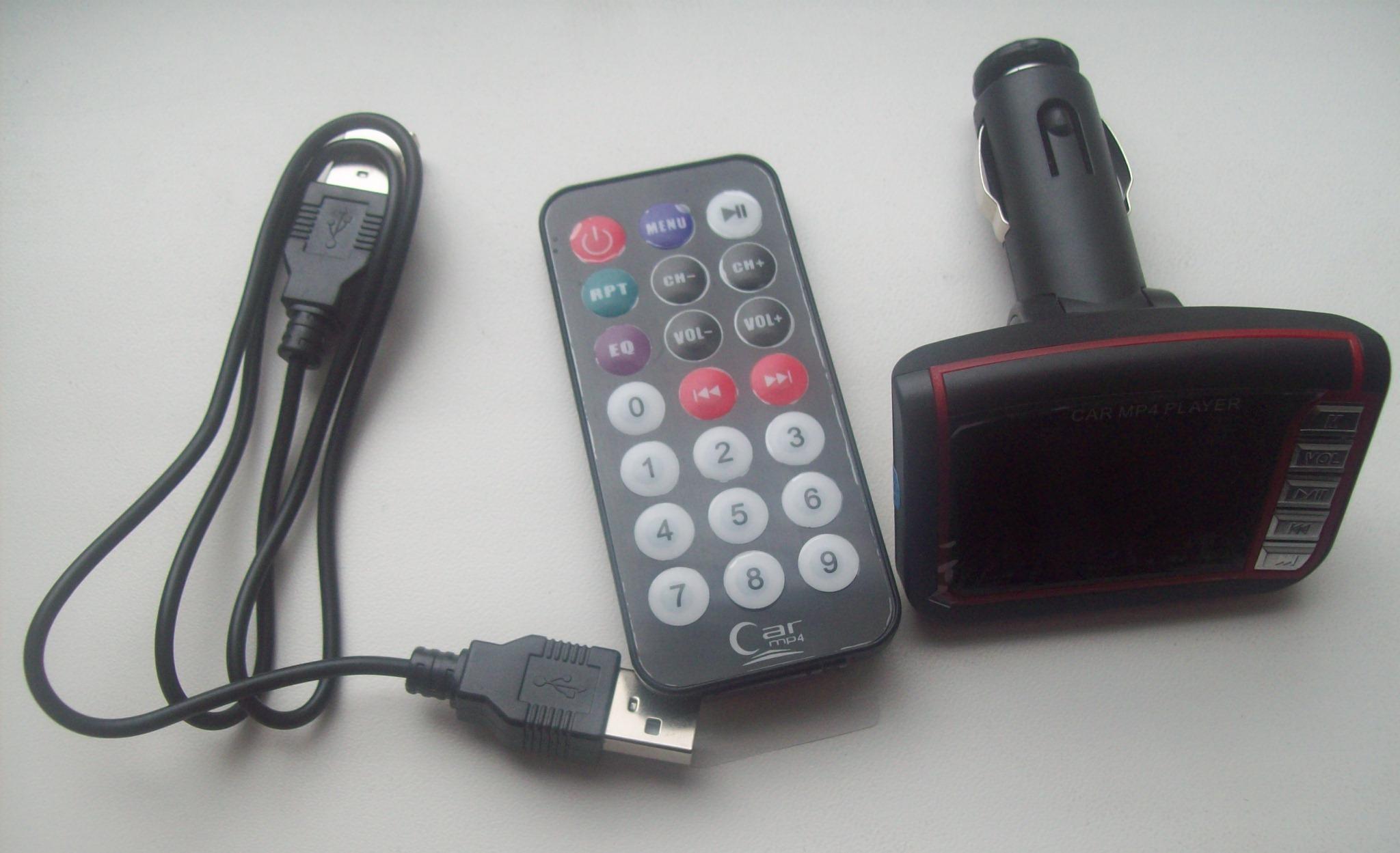 Автомобільний MP4 міні плеєр - FM трансміттер, зображення 1